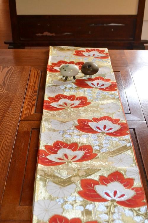 金地に赤い桐☆袋帯