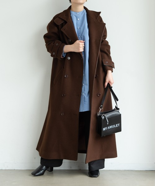 【yukichi.】classical piping long coat/DBRN