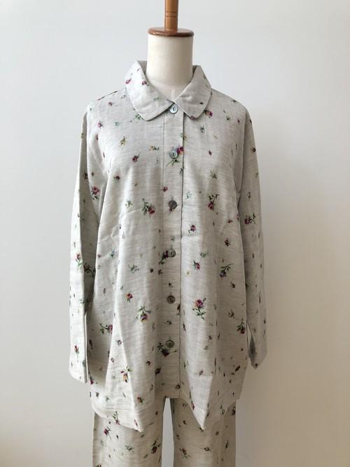 【IKUKO】2色 前開きパジャマ ダブルガーゼ コットン100 Ivory/Gray