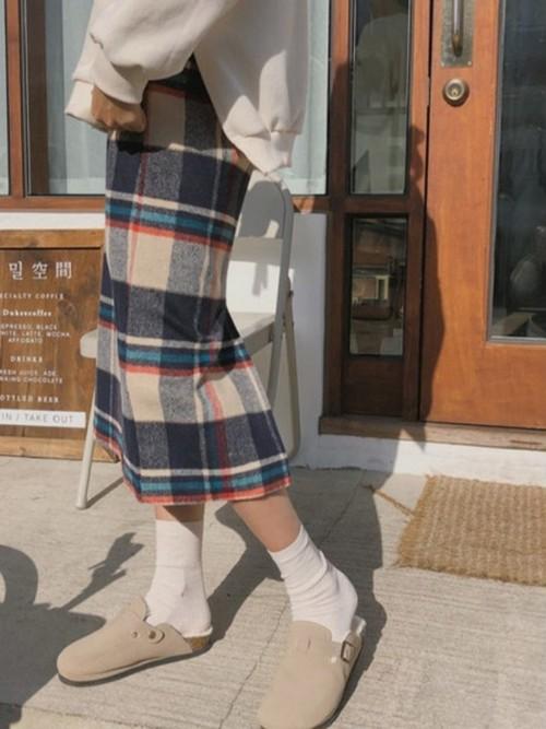 ウォームトーンチェックスカート チェックスカート スカート 韓国ファッション