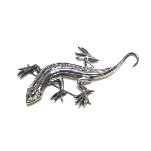 Vintage Sterling Silver Mexican Lizard Pin Brooch