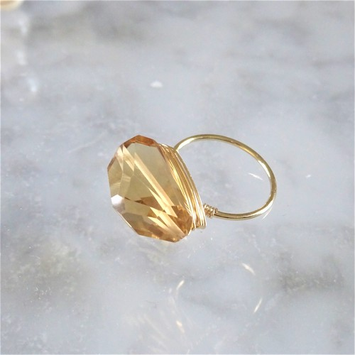 ギフト包装付14kgf*Champagne Quartz wrapped ring #9,#11