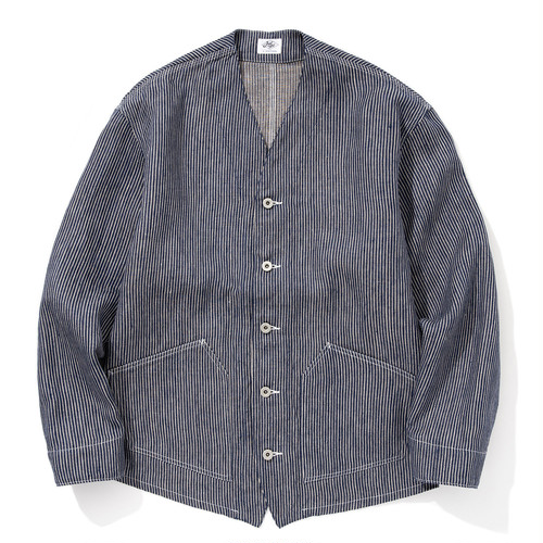 """Just Right """"Engineers Jacket Linen Hickory"""" Blue"""