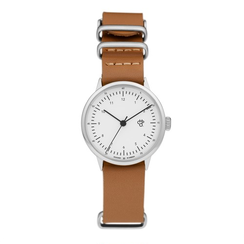 HAROLD MINI【CHPO】 White dial. Brown leather strap
