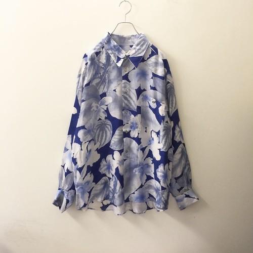 DAVINCI Sport 総柄シャツ ブルー イタリア製 size XL メンズ 古着