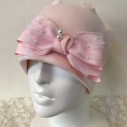 パールとチュールのケア帽子 ピンク⑤