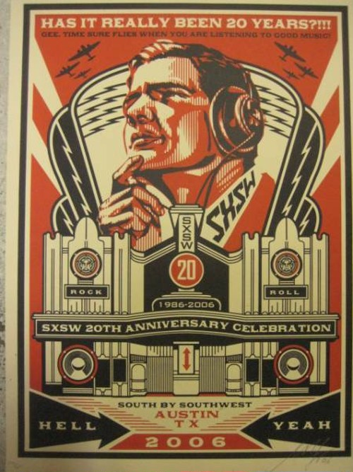 """SXSW"" by OBEY GIANT Printed ART w/ # & signature"