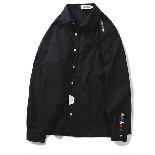 送料無料メンズ大きいサイズ袖ポップ三角黒長袖シャツ