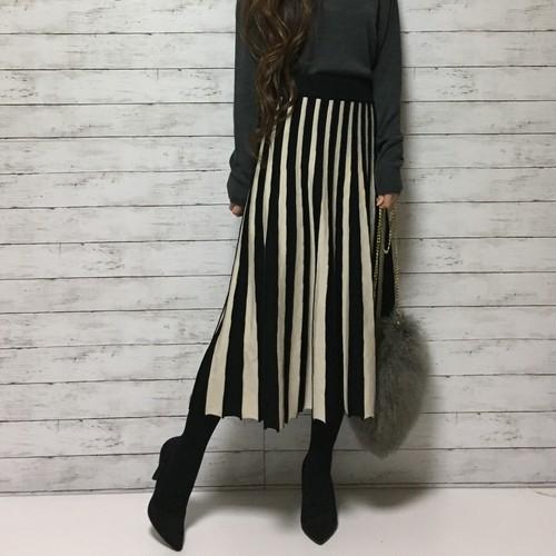 バイカラー ニットスカート(white × black)