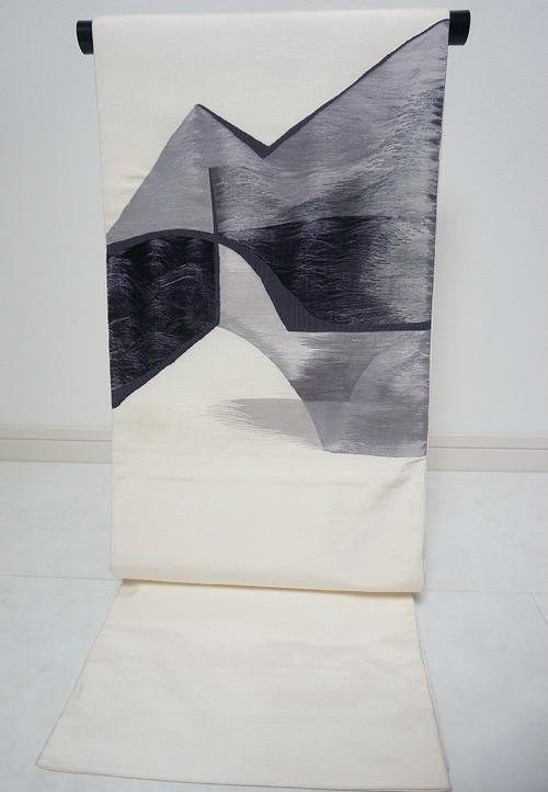 洒落袋帯 抽象文様 正絹 白黒 102
