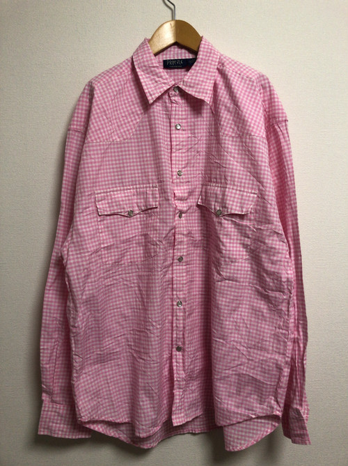 90's gingham-check western shirt