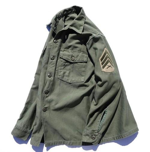 1970's [U.S.ARMY] コットンサテン ファティーグシャツ 実寸(M位) アメリカ軍