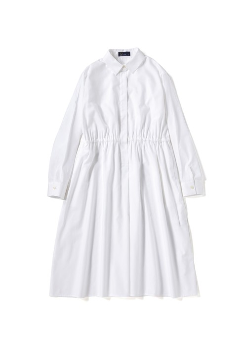 (フレッドペリー) FRED PERRY F8471 10 WOMEN BACK PLEATED SHIRT DRESS WHITE