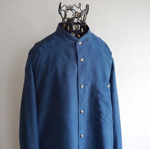 1990's [GATSBY SHIRTS] スタンドカラー L/S シルクシャツ ネイビー 表記(M)