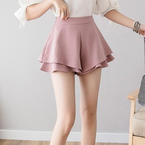 3色/裾Wフリルフレアスカート ・15657