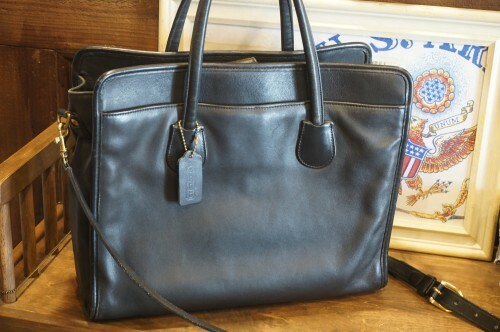90's COACH black leather tote Bag