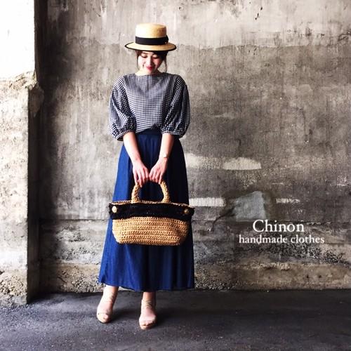 Chinon original handmade  ギンガムチェックバルーン袖ブラウス