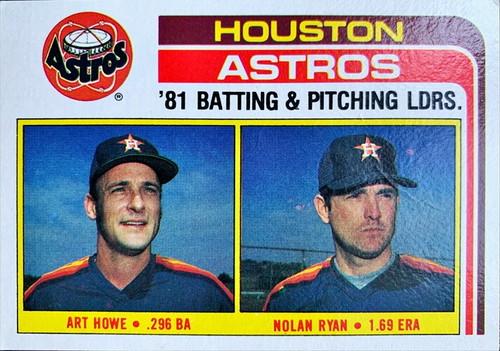 MLBカード 82TOPPS Art Howe & Nolan Ryan #066 ASTROS