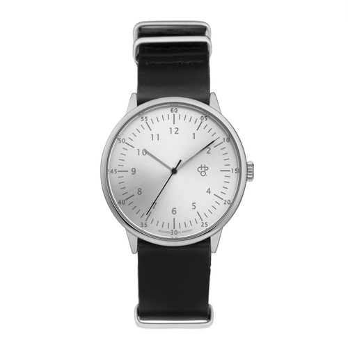 HAROLD Silver【CHPO】 Silver metal dial. Black leather strap