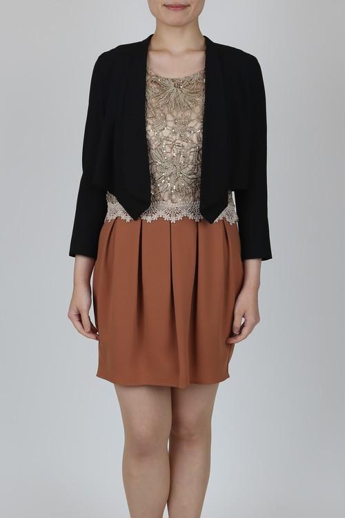 【USED】ゴールドレース切り替えコクーンスカートドレス、シンプル薄手ブラックジャケット