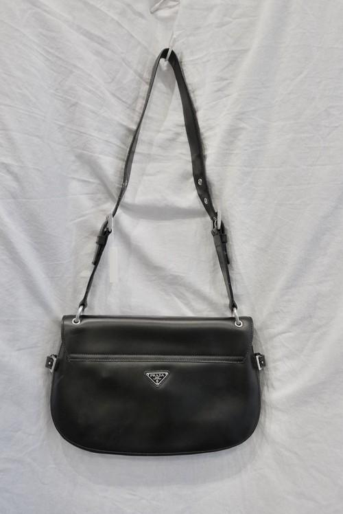 PRADA Leather Shoulder Bag -Black-