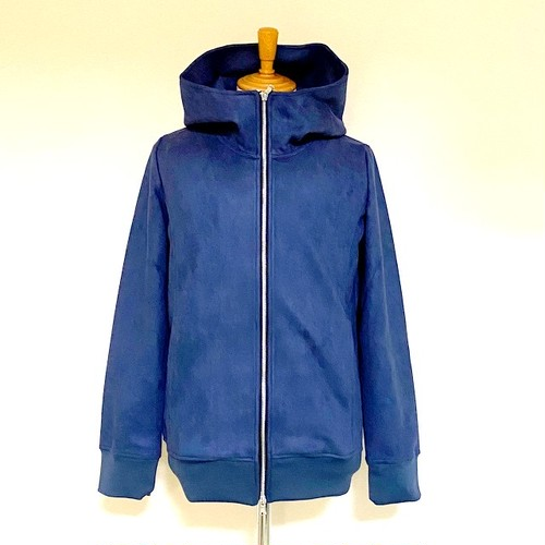 Stretch Suede Hooded Blouson Navy