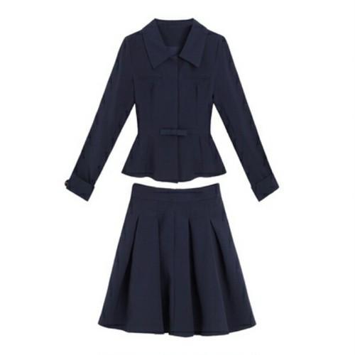 送料無料/ネイビー/スクエアリボン/ぺプラムジャケット+立体プリーツスカート