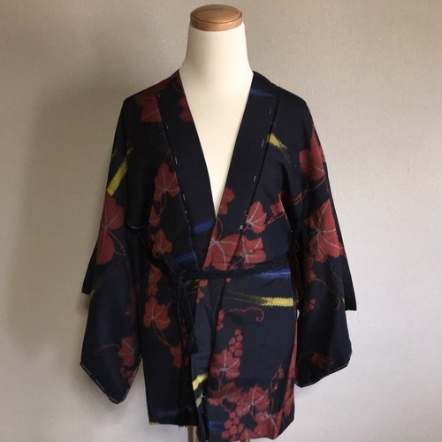 Vintage HAORI Silk Black × Red Leaves and Yellow × Blue