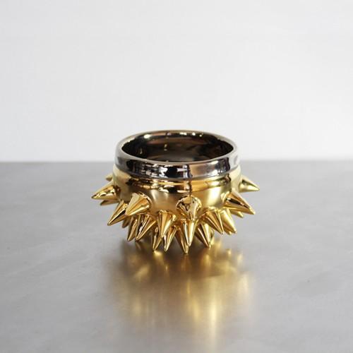 魅了する輝の器 陶芸作家【古賀崇洋】Spike Sake Cup スタッズぐい呑酒カップ (Gold×Platinum)