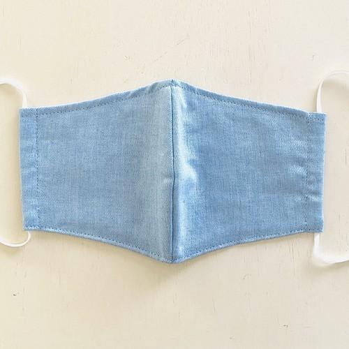 洗える布マスク 美形立体縫製 麻ツイル サックスブルー 日本製