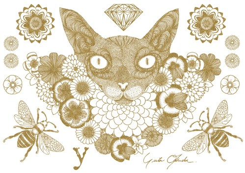 Fabric Sticker <Cat> A4 size