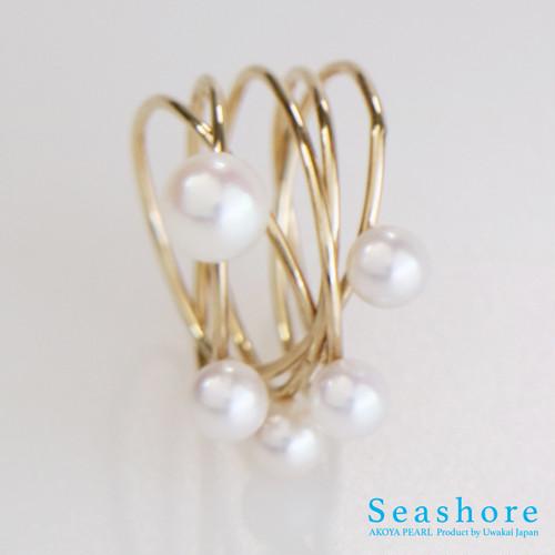 真珠の指輪【K18ぐるぐるリング&ピンクホワイト4.5mmx4+6mmx1】記念日プレゼント【宇和海あこやパール】