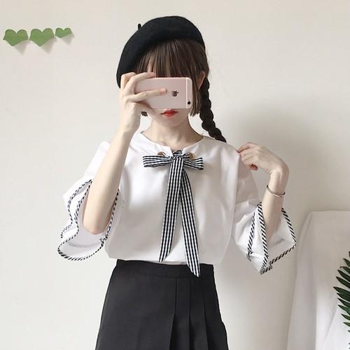 【トップス】夏新作韓国風リボン付きルーズファッションシャツ