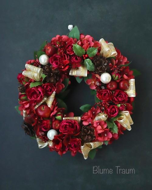★Blume Traum★クリスマスリースno,3、送料無料、アーティフィシャルフラワー、お祝い、お歳暮にも!