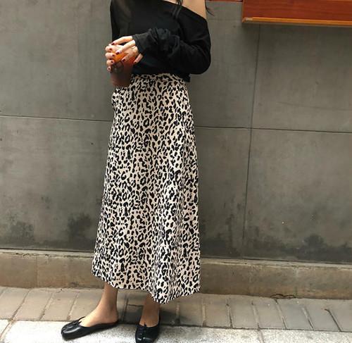 レオパード スカート ロング ハイウエスト フレア カジュアル 大人可愛い 韓国 オルチャン ファッション