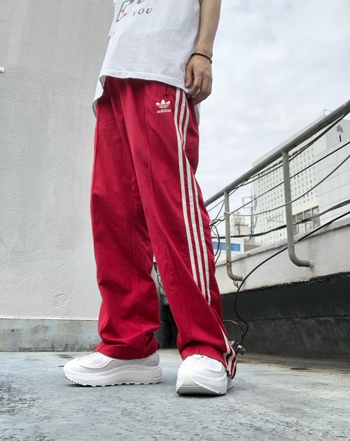 adidas / 90's trefoil logo side line jersey pants - red×white -