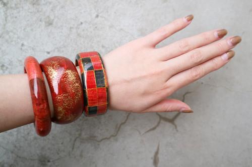Red wood bangle 【plain】