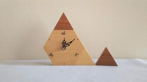 木の置時計 六角形