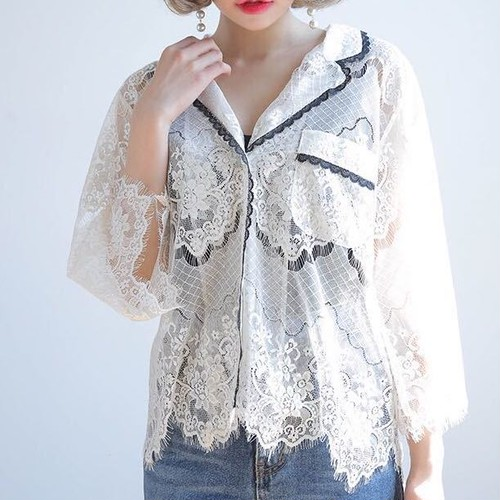 ♡retro lace stich pajamas shirts 1491