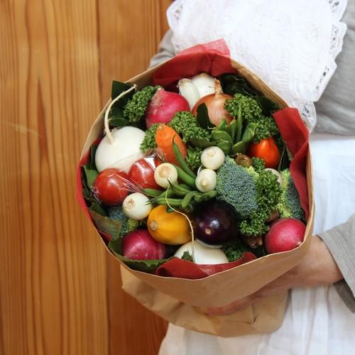 【いろいろ野菜のブーケ S 赤色ラッピング】食いしん坊のブーケシリーズ