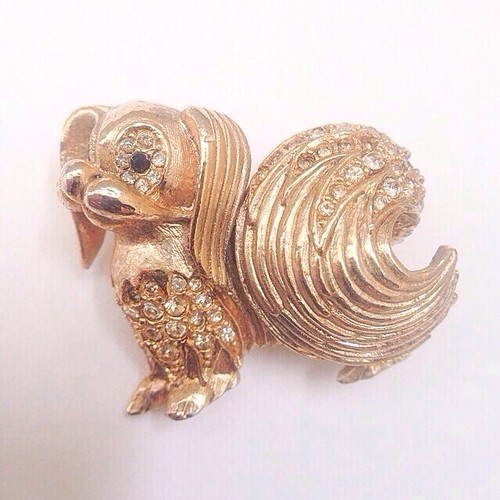 gold dog brooch[b-60]