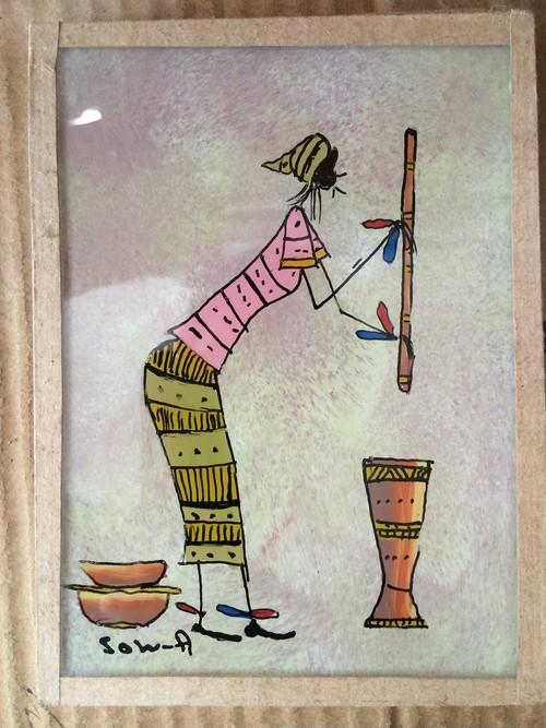 アフリカのガラス絵「料理をする女性」by Sow.A