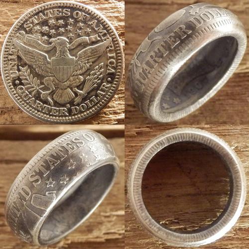 【受注生産】USA バーバークォーターダラーシルバーコインリングB イーグル面【アメリカ ヴィンテージ 25セント銀貨】