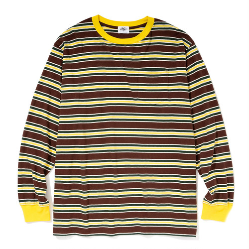 """Just Right """"Multi Border Tee L/S"""" Brown x Yellow"""