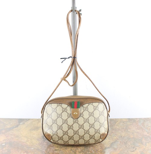 .OLD GUCCI GG PATTERNED SHERRY LINE SHOULDER BAG MADE IN ITALY/オールドグッチGG柄シェリーラインショルダーバッグ2000000056487