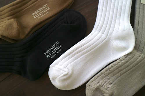 エジプトコットンリブソックス NISHIGUCHI KUTSUSHITA 西口靴下 <日本製・奈良>