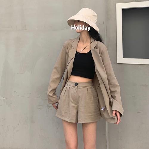 【セットアップ】ファッション薄手長袖ゆったりトップス+ハイウエストショートパンツ2点セット21849851