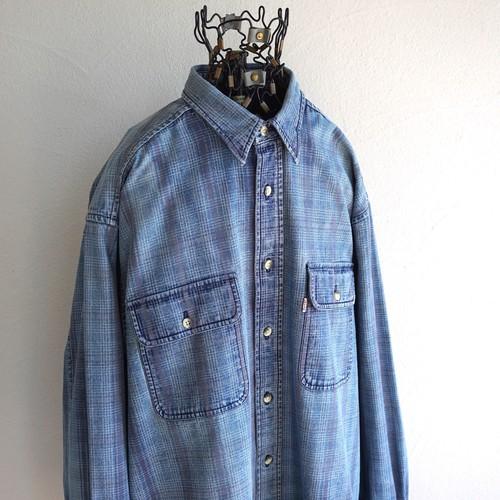 2000's [Levi's] チェック柄 L/S デニムシャツ ブルー×グレー 表記(L) リーバイス