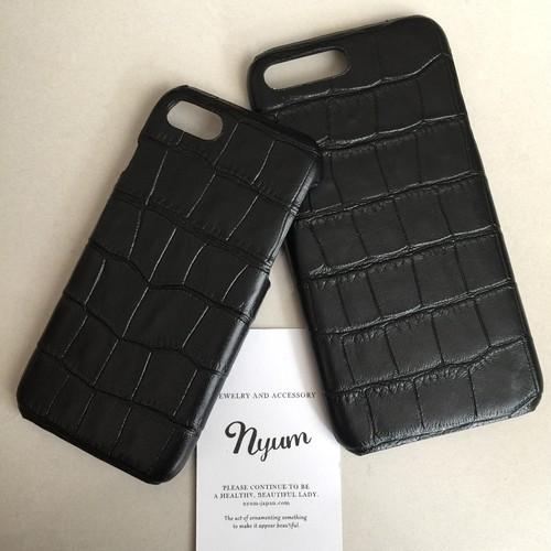 【iphone7/8/7plus/8plusカバー】合皮ブラック型押しクロコマットiphoneケース フェイクレザー