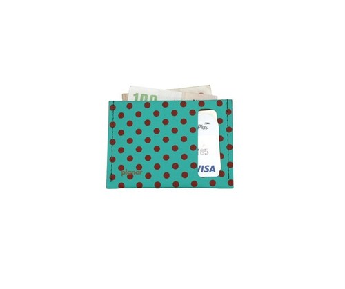planar Card Case S -Green and Red Dots-